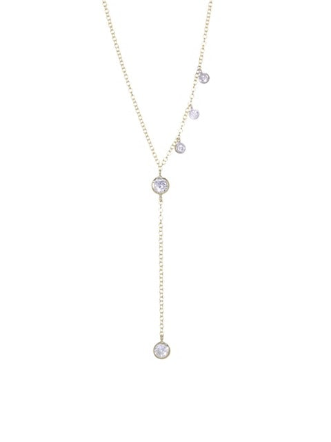 Diamond & 14K Yellow Gold Y Necklace