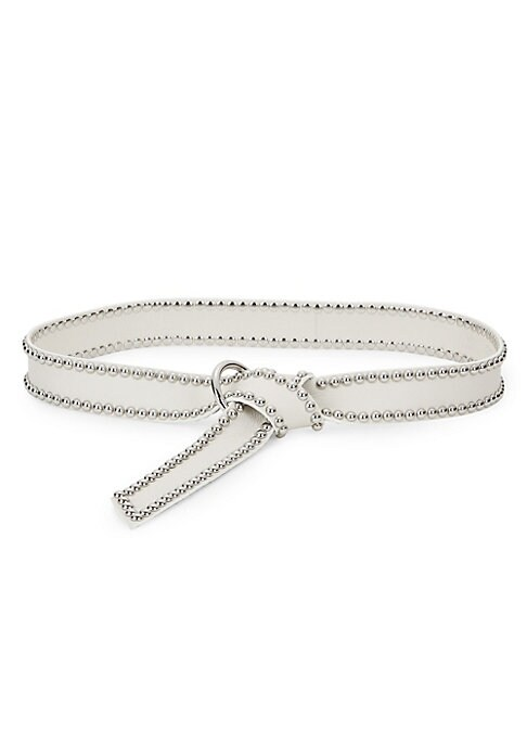 """Image of Studded soft leather wrap with solid O-ring. Width, about 1.5"""".Leather/zinc. Imported."""