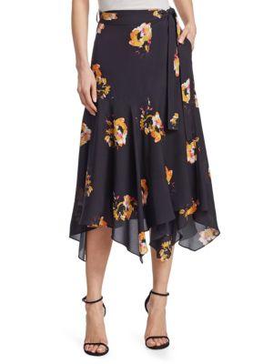A.L.C Borden Silk Crepe De Chine Midi Skirt, Black Saffron