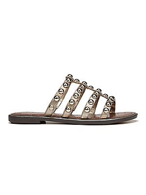 28f567555 Sam Edelman - Glen Studded Metallic Leather Slides - saks.com