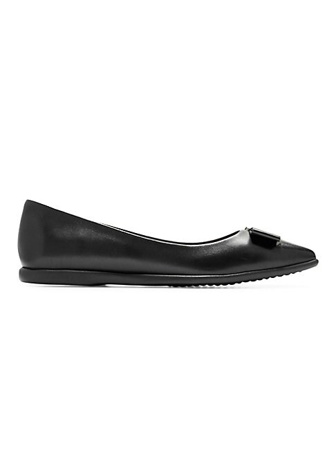 Image of Classic flat silhouette modernized with sleek bow detail. Leather upper. Point toe. Slip-on style. Synthetic sole. Imported.