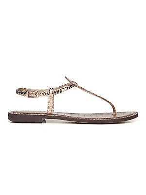 8db976ba3e8401 Sam Edelman - Gigi Rose Gold Boa Snake Print Leather Thong Sandals