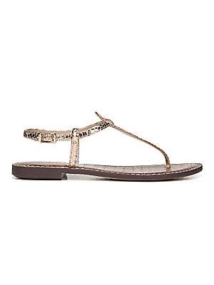 4c24106b3 Sam Edelman - Gigi Rose Gold Boa Snake Print Leather Thong Sandals -  saks.com