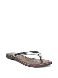 0905a3784 Sam Edelman. Gracie Liquid Metallic Leather Thong Sandals