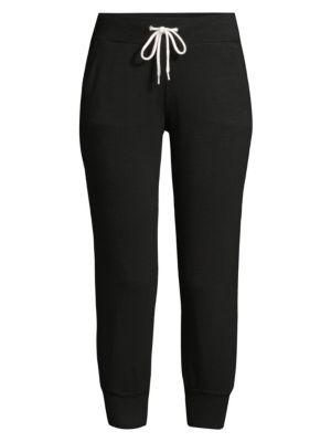Monrow Cropped Drawstring Jogger Pants In Black