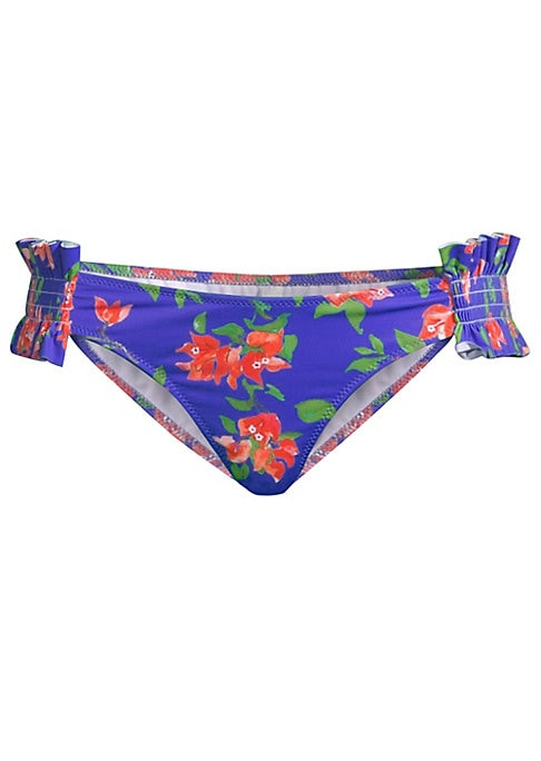 Image of Bright floral bottoms with smocked side detail. Elasticized waist. Pull-on style. Cheeky back. Polyamide/elastane. Hand wash. Made in USA.