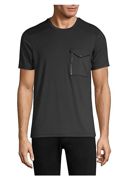 """Image of A zipper patch pocket elevates the classic tee silhouette. Roundneck. Short sleeves. Pullover style. Chest flap button pocket. About 26"""" from shoulder to hem. Polyester/spandex. Machine wash. Imported."""
