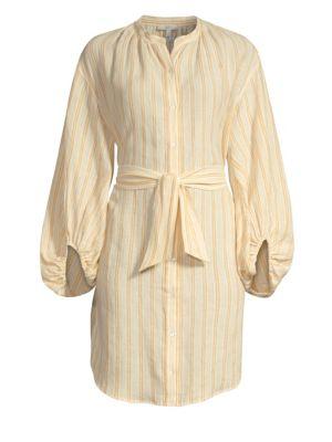 Beatrissa Balloon Sleeve Stripe Linen Shirtdress in Cornsilk