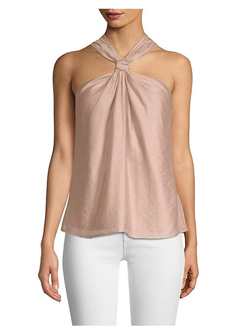"Image of Lightweight draped top in a halterneck silhouette. Halterneck. Sleeveless. Pull-on style. About 19"" shoulder to hem. Tencel/nylon. Dry clean. Imported. Model shown is 5'10"" (177cm) wearing US size Small."