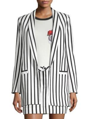 Alice + Olivia Kylie Striped Open-Front Blazer in Monochrome Stripe