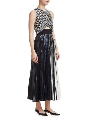 High-Neck Sleeveless Metallic Foil CloquÉ Cocktail Dress, Black