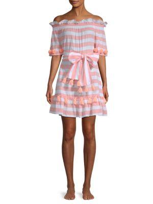 SUNDRESS Lily Striped Dress in Coral Stripe