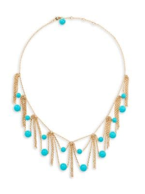 18K Yellow Gold & Turquoise Ana Necklace in Metallic