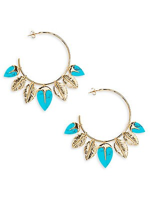 Image of Carved feathers and turquoise embellish chic hoop earrings Turquoise 18k yellow gold-plated brass Diameter, about 3 Post back Made in France. Fashion Jewelry - Modern Jewelry Designers. Aurélie Bidermann.
