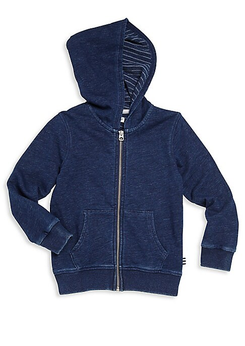 Image of Cozy hoodie with cool striped lining. Attached hood. Long sleeves. Ribbed at cuffs and hem. Zip front. Split kangaroo pocket. Cotton/polyester. Hand wash. Imported.