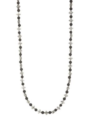 King Baby Studio Cross Amp Onyx Beaded Necklace