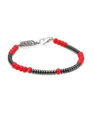 KING BABY STUDIO American Voices Glass Bead Bracelet in Silver Red