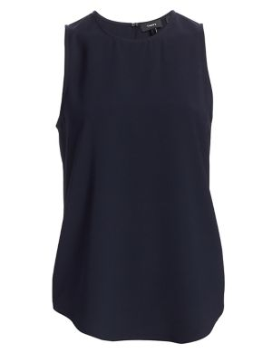 Theory Bringham Crepe Top In Deep Navy  f2443d83ce2