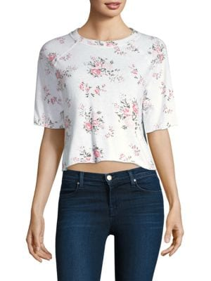 MONROW Rose Cutoff Sweatshirt in White