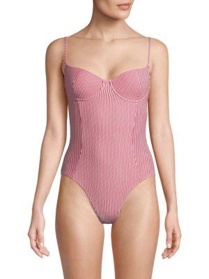 SOLÉ EAST Seersucker One-Piece Swimsuit - Red Str Size Xs