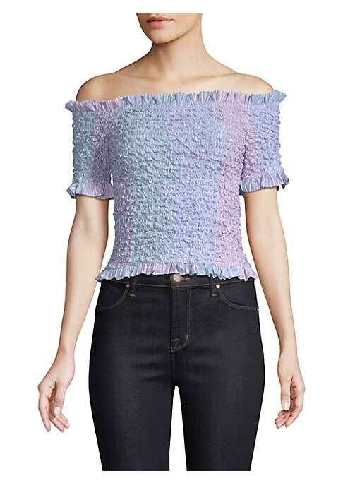 """Image of Fitted feminine top with cute bubble smocking. Ruffled off-the-shoulder neckline. Smocked short sleeves. Pullover style. Smocked bodice. Ruffled hem. About 15"""" from bust to hem. Cotton. Dry clean. Made in USA. Model shown is 5'10"""" (177cm) wearing US size"""