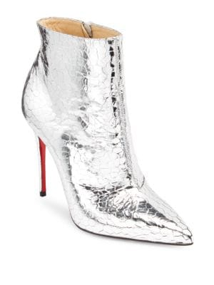 So Kate Metallic Leather Red Sole Booties, Silver
