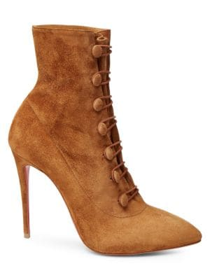 CHRISTIAN LOUBOUTIN French Tutu Button-Loop Suede Red Sole Booties in Tan