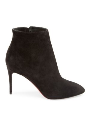 Eloise Suede Red Sole Booties, Black
