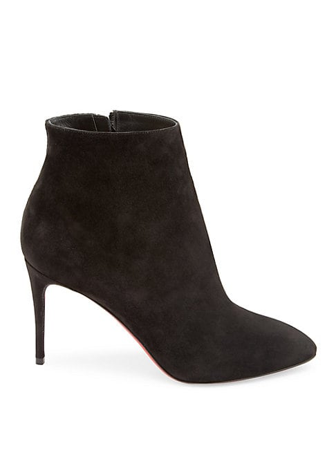 """Image of Sleek ankle boots in luxe suede. Self-covered heel, 3.5"""" (85mm).Suede upper. Almond toe. Side zip closure. Leather sole. Made in Italy."""