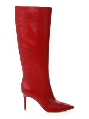 Leather Knee Boots - Wine Size 9.5