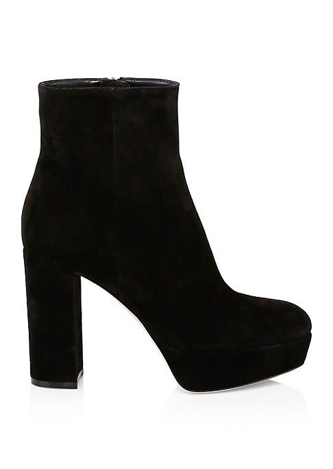 """Image of Eye-catching platform booties crafted from luxe suede. Self-covered suede block heel, 4"""" (105mm).Self-covered suede platform, 1"""" (25.5mm).Suede upper. Almond toe. Side zip closure. Leather lining and sole. Made in Italy."""