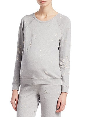 """Image of Cozy distressed sweatshirt in soft cotton Roundneck Long, raglan sleeves Pullover style About 24"""" from shoulder to hem Cotton Dry clean Imported Model shown is 5'10 (177cm) wearing US size Small. Contemporary Sp - Casual Separates. David Lerner. Color: He"""