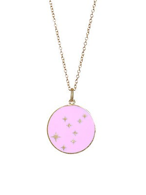 Image of From the Constellation Collection Glittering stars cover mesmerizing enamel pendant 18K yellow gold Champlevé enamel Pendant diameter, 0.5 Length, 16 with 2 extender Spring ring Made in USA. Fashion Jewelry - Modern Jewelry Designers. Bare. Color: Red.