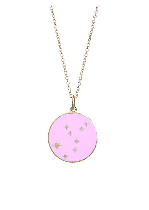 "Image of From the Constellation Collection. Glittering stars cover mesmerizing enamel pendant.18K yellow gold. Champleve enamel. Pendant diameter, 0.5"".Length, 16"" with 2"" extender. Spring ring. Made in USA."