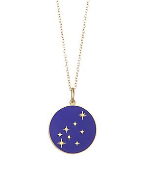 "Image of From the Constellation Collection Enamel pendant embedded with diamonds in a star constellation hanging from a delicate 18K yellow gold chain Champlevé enamel 18K gold Length, about 18"" Spring ring closure Made in USA. Fashion Jewelry - Modern Jewelry Des"