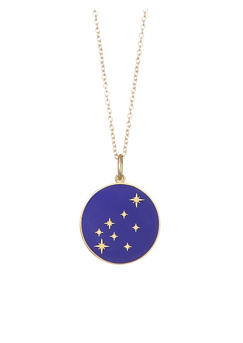 "Image of From the Constellation Collection. Enamel pendant embedded with diamonds in a star constellation hanging from a delicate 18K yellow gold chain. Champleve enamel.18K gold. Length, about 18"".Spring ring closure. Made in USA."