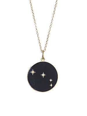 Image of From the Constellation Collection Enamel pendant with glittering constellation of Aries 18K yellow gold Champlevé enamel Pendant diameter, 0.5 Length, 16 with 2 extender Spring ring Made in USA. Fashion Jewelry - Modern Jewelry Designers. Bare. Color: Bla