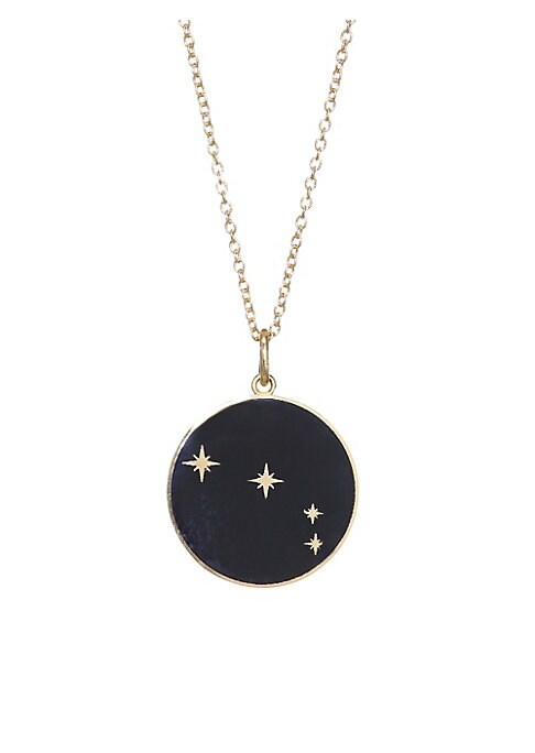 "Image of From the Constellation Collection. Enamel pendant with glittering constellation of Aries.18K yellow gold. Champleve enamel. Pendant diameter, 0.5"".Length, 16"" with 2"" extender. Spring ring. Made in USA."