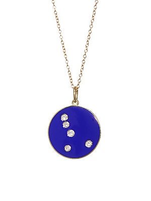 Image of From the Constellation Collection Diamond Cancer constellation dots vibrant pendant Diamonds, 0.07 tcw 18K yellow gold Champlevé enamel Pendant diameter, 0.5 Length, 16 with 2 extender Spring ring Made in USA. Fashion Jewelry - Modern Jewelry Designers >