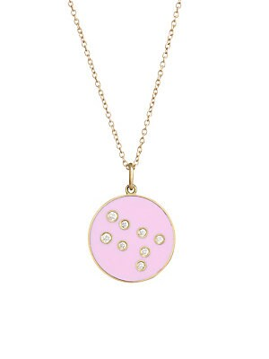 "Image of From the Constellation Collection Enamel pendant embedded with diamonds in a star constellation hanging from a delicate 18K yellow gold chain Diamonds, 0.08 tcw 18K gold Length, about 18"" Spring ring closure Made in USA. Fashion Jewelry - Modern Jewelry D"