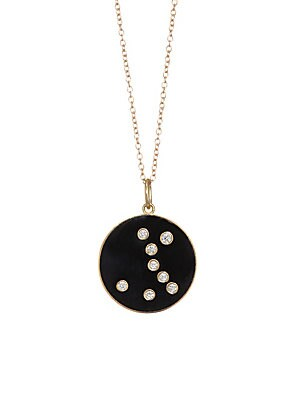 Image of From the Constellation Collection Enamel pendant with diamond Pisces constellation Diamonds, 0.09 tcw 18K yellow gold Champlevé enamel Pendant diameter, 0.5 Length, 16 with 2 extender Spring ring Made in USA. Fashion Jewelry - Modern Jewelry Designers > S