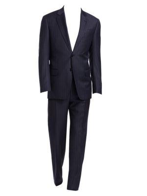 G-Line Regular-Fit Pinstripe Wool Suit, Navy