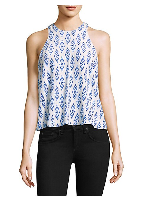 "Image of Silk tank in ikat print. Halterneck. Sleeveless. Concealed back zip. Racerback. Shrunken fit. About 23"" from shoulder to hem. Silk. Dry clean. Imported. Model shown is 5'10"" (177cm) wearing US size Small."