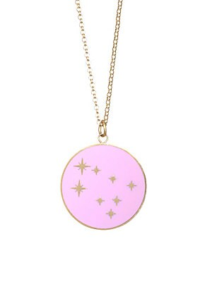 """Image of From the Constellation Collection Striking constellation design made for Geminis Champlevé enamel 18K yellow gold Length, 16"""" with 2"""" extender Pendant diameter, about 0.5"""" Spring ring clasp Made in USA. Fashion Jewelry - Semi Prec Coll C. Bare. Color: Pin"""