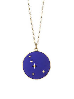 """Image of From the Constellation Collection Striking Cancer pendant made for astrological fervor Champlevé enamel 18K yellow gold Length, 16"""" with 2"""" extender Pendant diameter, about 0.5"""" Spring ring clasp Made in USA. Fashion Jewelry - Semi Prec Coll C. Bare. Colo"""