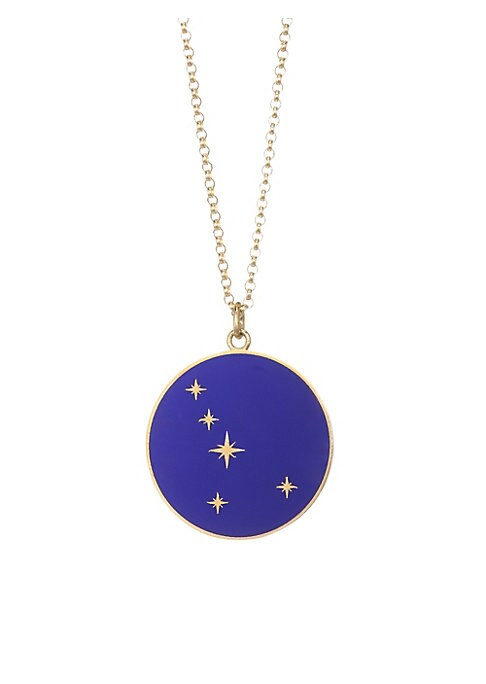 "Image of From the Constellation Collection. Striking Cancer pendant made for astrological fervor. Champleve enamel.18K yellow gold. Length, 16"" with 2"" extender. Pendant diameter, about 0.5"".Spring ring clasp. Made in USA."