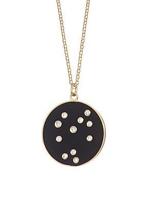 "Image of From the Constellation Collection Enamel pendant embedded with diamonds in a star constellation hanging from a delicate 18K yellow gold chain Diamonds, 0.22 tcw 18K gold Length, about 18"" Spring ring closure Made in USA. Fashion Jewelry - Semi Prec Coll C"