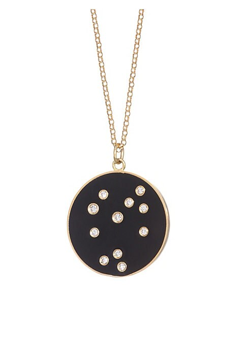 "Image of From the Constellation Collection. Enamel pendant embedded with diamonds in a star constellation hanging from a delicate 18K yellow gold chain. Diamonds, 0.22 tcw.18K gold. Length, about 18"".Spring ring closure. Made in USA."