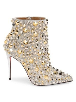 CHRISTIAN LOUBOUTIN So Full Kate 100 Embellished Glittered Leather Ankle Boots in Silver