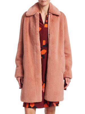 Spread-Collar Zip-Front Faux-Fur Coat in Blush Rose